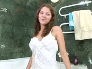Youthful nubile Anina showers
