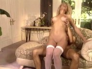 Kinky blonde fucking in white