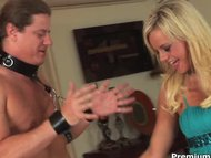 Bree Olson plays with her tiedup slave