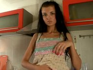 Tall Spinner Brunette Fingering In The Kitchen