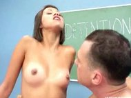 Cute latina teen rammed by her professor in the detention room