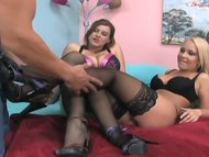 FFM footjob in lingerie