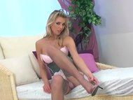 Blonde strip tease and fingeri