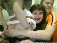 Two teen girls and boy party on cam