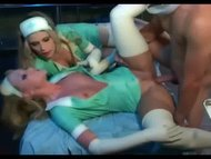 Nurse threesome in latex lingerie and gloves
