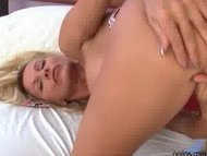 Busty Anilos Winnie stuffs a toys in her wet pussy