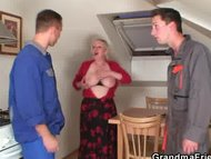 Two repairmen bang busty from