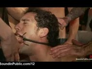 Gay mouth fucked by group...