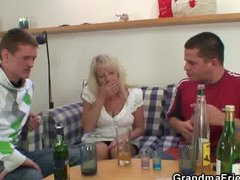 Two partying guys screw drunk blonde ...