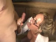 Hot and horny secretary blew a cock