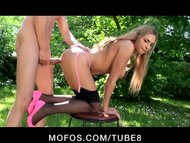 BIG TIT BLONDE EURO SLUT CLEANS OUTDOORS IN PINK LINGERIE  HEELS