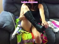 Lelu LoveHigh Leather Boots Masturbation
