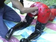 Extreme slut fisted and fucked with a monster dildo outdoors