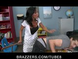 BIG TIT BRUNETTE TEACHER IN FISHNETS DOMINATES STUDENT IN SCHOOL