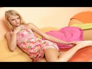 Skinny blond teen Kate hard dildo fuck