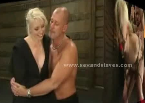Bound from wall blonde sex slave gets spanked and destroyed in ex