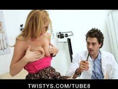 BUSTY BLONDE COLLEGE SCHOOL SLUT SEES DOCTOR FOR BIG TITS AND COCK