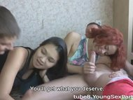 Foursome with redhead and...