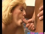 Horny granny gets covered in j