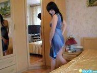 Teen brunette tease in the bedroom