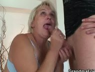 Two friends bang cleaning gran