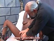 Ebony babe Crystal in a kinky experiment