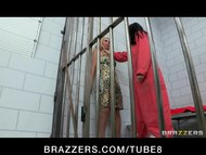 Busty lesbian prisoner makes a new inmate fuck her pussy