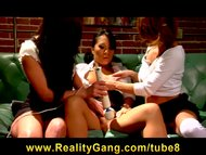 Asian Pornstar Asa Akira teased by horny brunette schoolgirl sluts