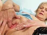 Blonde granny nurse self exam