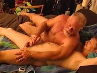 Young hunky dude gets his balls worked over by very experienced t