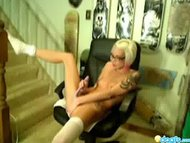 Blonde emo dildoing on a ...