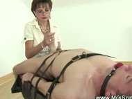 Mistress stroking helpless guy
