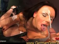 Hot brunette sucks cock w...