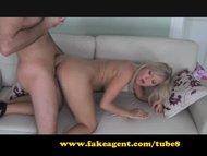 FakeAgent. Sex crazed blonde nympho takes creampie from behind.
