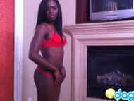 Sexy ebony in red bikini showi