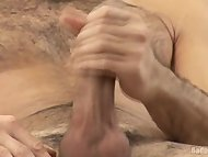 Uncut stud jerking