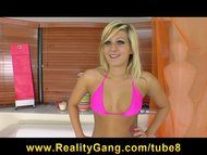Sexy young hot blond girlfriend bikini slut takes cumshot in ear