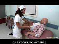 Horny bigtit brunette French nurse fucks patient's big harddick