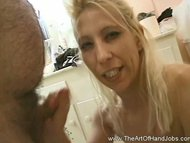 Interracial messy and erotic hand job