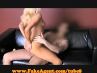 FakeAgent Blonde beauty rides stick