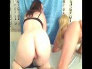 Hot brunette lesbians dildo fucking webcam