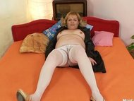 Horny older lady wears st...