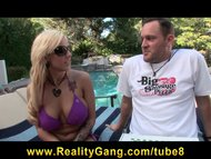 Horny bigtit bikini clad Lylith LaVey rides bigdick by the pool