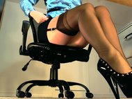 Sexy underdesk tease showing s