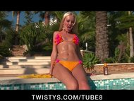 Slutty blonde bikini babe masturbates to hard orgasm by the pool