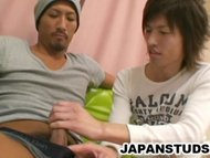 Horny Japanese studs exploring their bodies