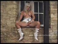 Busty blonde cowgirl talking d