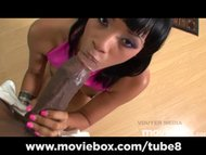 Ebony teen pounces big bl...
