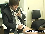 Japanese businessman jerk off to mobile phone