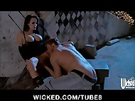 Sex starved brunette Alektra Blue has roughsex in a back alley